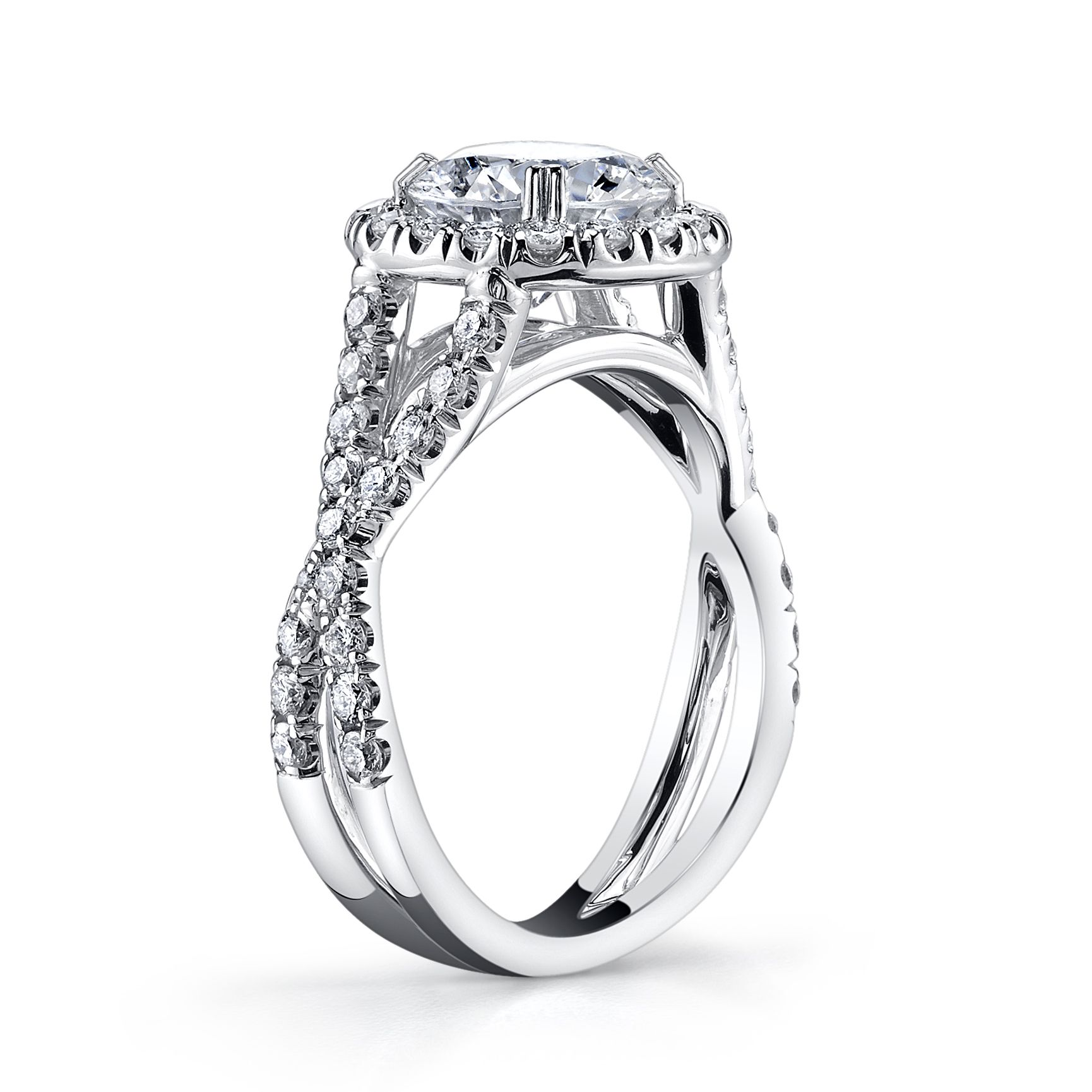 Twisted Micro Pave Shank Halo Engagement Ring Jewelers In Poughkeepsie Ny
