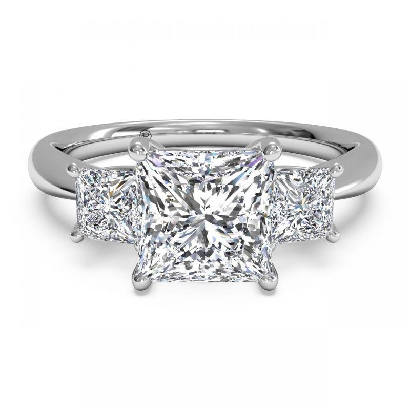 Three Stone Princess Cut Diamond Engagement Ring Jewelers In Poughkeepsie Ny