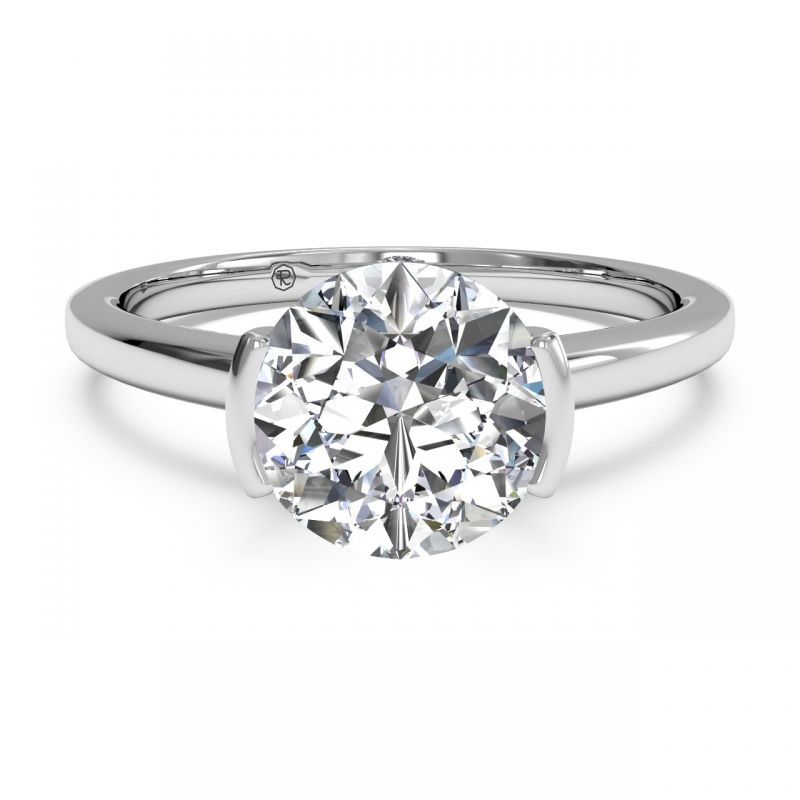 Solitaire Semi Bezel Set Diamond Engagement Ring Jewelers In Poughkeepsie Ny